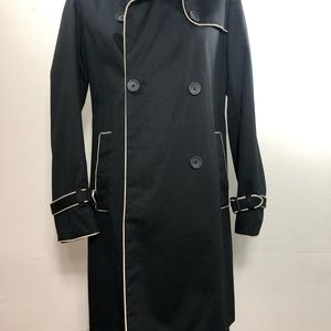 GAP Women's Black/Piping Spring Trench Coat Small